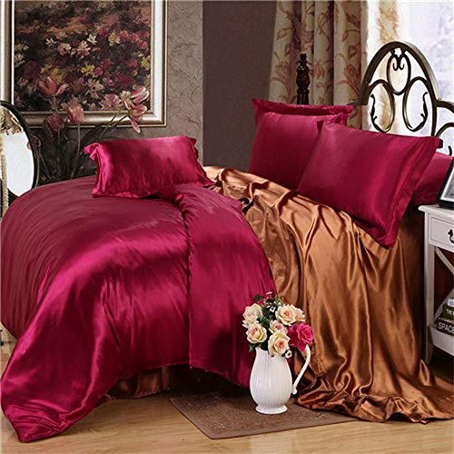 CDSITHH Imitation Silk Bedding Set Heimtextilien Ab Side Sheets Bettbezug Einfarbig Weiche Double Queen @ Dark_Red_Coffee_Queen_Fla t_Bed_Sheet
