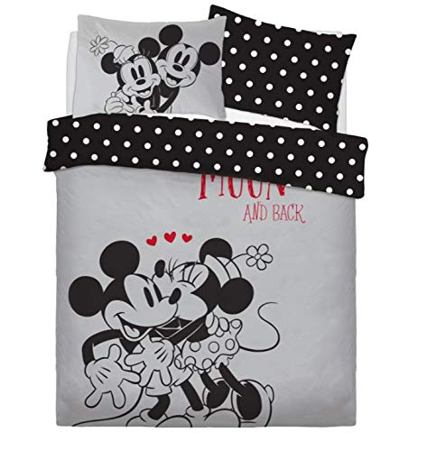 BeddingHome Bettwäsche Set für Kinder, Motiv Mermaid Marvel Mickie Minnie Toy Story, Baumwolle Polycotton Baumwollmischung, Mickey & Minnie Love You, Doppelbett
