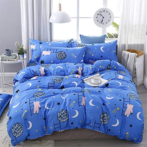 YUNSW Moderne Polyester Bettbezug Kissenbezug Set Volle Königin King Size Fashion Print Heimtextilien B 150x200 / 59x79in