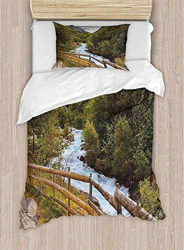shirlyhome Ultra Soft Polyester Historical Bridge in Netherlands European Architecture Town Scenery Amber Lilac Hypoallergen, Polyester, Farbe09, Queen