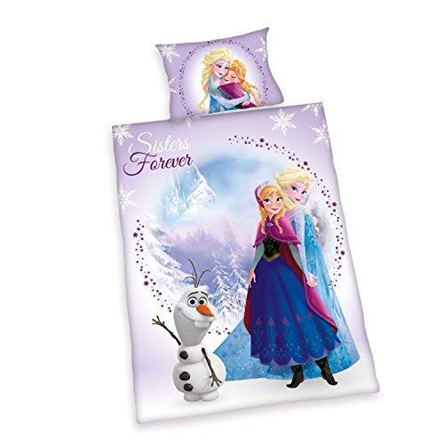 Bettwäsche glatt Kinder Disney Frozen Anna + Elsa + Olaf 100 x 135 NEU WOW   All In One Outlet 24