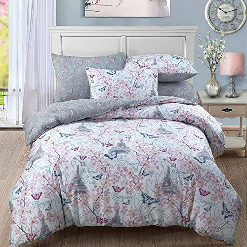 GSYGSY Weihnachtsmann Xmas Print Quilt Bettlaken Cover Kissenbezug Single Double King Doppelbett Single Sets