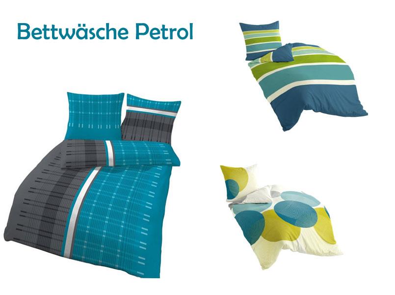 Wunderschöne Bettwäsche petrol mit Streifen oder Kreisen